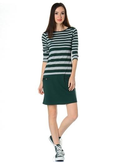 Loox Çizgili Dar Elbise Yeşil